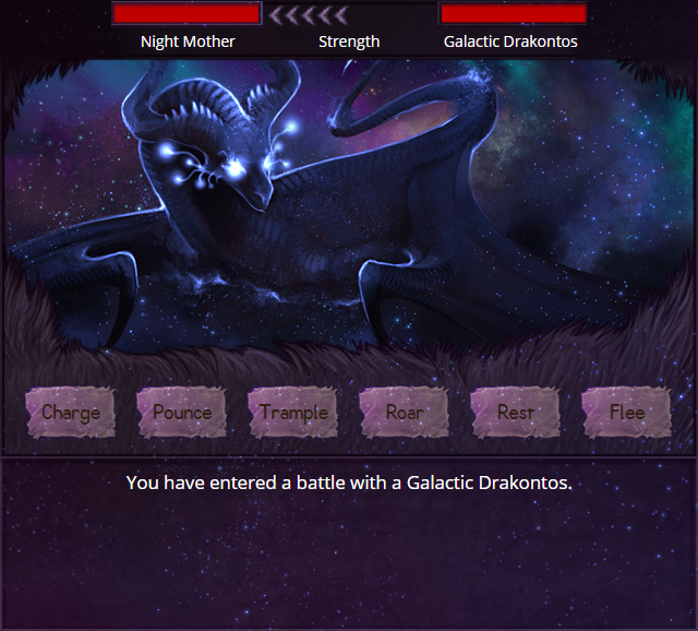 A mockup of the battle screen, reskinned with the Celestial Explore layout.