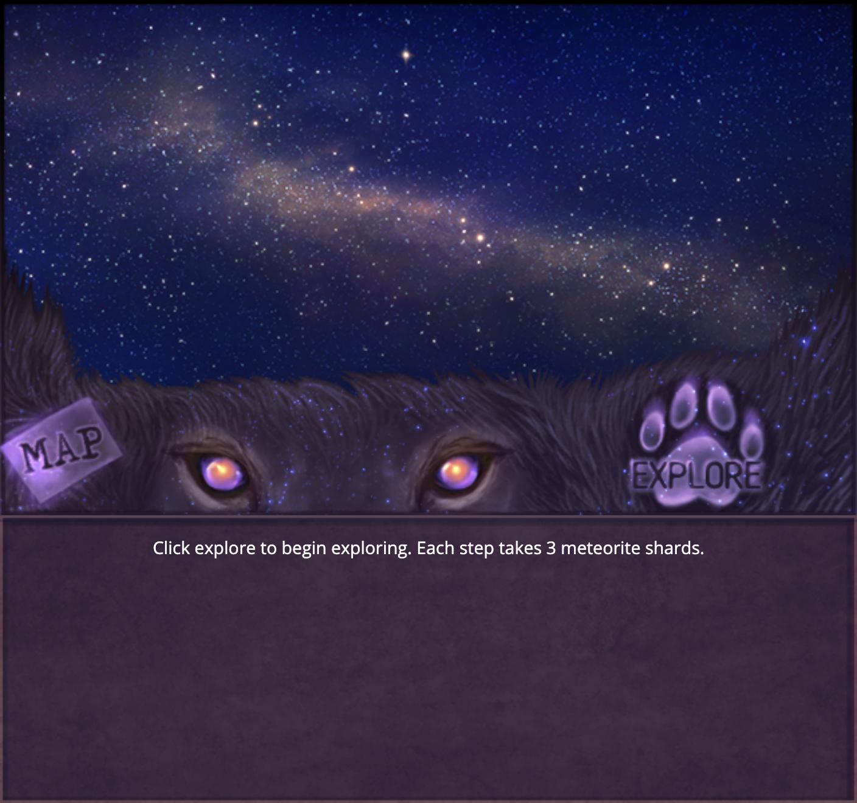 Celestial Explore. Click explore to begin exploring. Each step takes 5 meteorite shards.